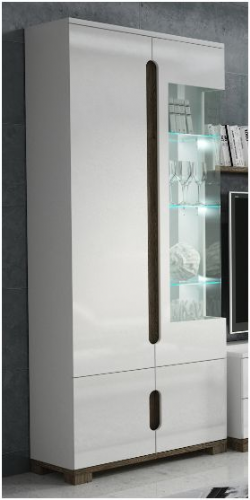 Costa Glass and white gloss 2 doors Display Unit - 2524